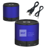 Wireless HD Bluetooth Blue Round Speaker-NYIT College of Osteopathic Medicine - Horizontal Engraved