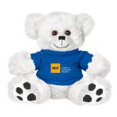 Plush Big Paw 8 1/2 inch White Bear w/Royal Shirt-NYIT College of Osteopathic Medicine - Horizontal