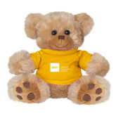 Plush Big Paw 8 1/2 inch Brown Bear w/Gold Shirt-NYIT College of Osteopathic Medicine - Horizontal