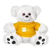 Plush Big Paw 8 1/2 inch White Bear w/Gold Shirt-NYIT College of Osteopathic Medicine - Horizontal