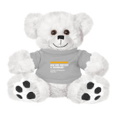 Plush Big Paw 8 1/2 inch White Bear w/Grey Shirt-NYIT College of Osteopathic Medicine - Horiontal