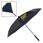 48 Inch Auto Open Black/Navy Inversion Umbrella-NYIT College of Osteopathic Medicine - Horiontal