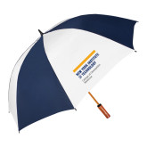 62 Inch Navy/White Vented Umbrella-NYIT College of Osteopathic Medicine - Horiontal