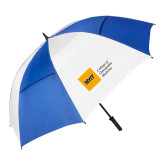62 Inch Royal/White Vented Umbrella-NYIT College of Osteopathic Medicine - Horizontal