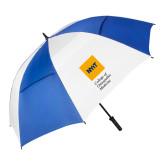62 Inch Royal/White Vented Umbrella-NYIT College of Osteopathic Medicine - Vertical