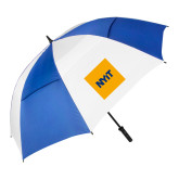 62 Inch Royal/White Vented Umbrella-NYIT Logo