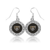 Crystal Studded Round Pendant Silver Dangle Earrings-Grizzly Head