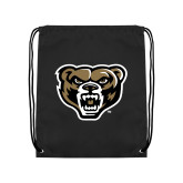 Nylon Black Drawstring Backpack-Grizzly Head