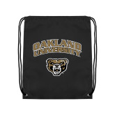 Nylon Black Drawstring Backpack-Oakland University with Grizzly Head