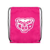 Nylon Pink Drawstring Backpack-Grizzly Head