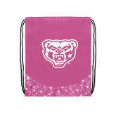 Nylon Pink Bubble Patterned Drawstring Backpack-Grizzly Head