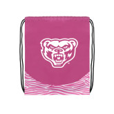 Nylon Zebra Pink/White Patterned Drawstring Backpack-Grizzly Head