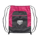 Nylon Pink Raspberry/Deep Smoke Pocket Drawstring Backpack-Grizzly Head