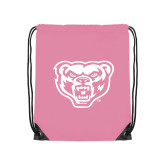 Nylon Light Pink Drawstring Backpack-Grizzly Head