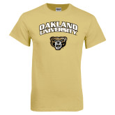Champion Vegas Gold T Shirt-Oakland University with Grizzly Head