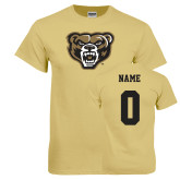 Champion Vegas Gold T Shirt-Grizzly Head, Custom Tee w/ Name and #