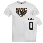White T Shirt-Grizzly Head, Custom Tee w/ Name and #