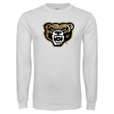 White Long Sleeve T Shirt-Grizzly Head