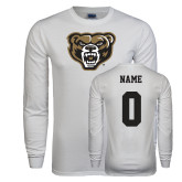 White Long Sleeve T Shirt-Grizzly Head, Custom Tee w/ Name and #