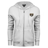 ENZA Ladies White Fleece Full Zip Hoodie-Grizzly Head