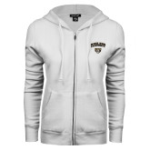 ENZA Ladies White Fleece Full Zip Hoodie-Oakland University with Grizzly Head
