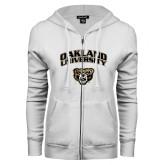 ENZA Ladies White Fleece Full Zip Hoodie-Oakland University with Grizzly Head