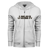 ENZA Ladies White Fleece Full Zip Hoodie-Oakland University