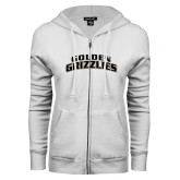 ENZA Ladies White Fleece Full Zip Hoodie-Arched Golden Grizzlies