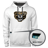 Contemporary Sofspun White Hoodie-Grizzly Head