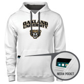 Contemporary Sofspun White Hoodie-Oakland University with Grizzly Head