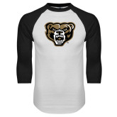 White/Black Raglan Baseball T Shirt-Grizzly Head