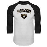 White/Black Raglan Baseball T Shirt-Oakland University with Grizzly Head