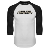 White/Black Raglan Baseball T Shirt-Oakland University