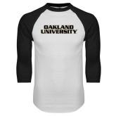 White/Black Raglan Baseball T Shirt-Oakland University