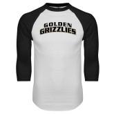White/Black Raglan Baseball T Shirt-Arched Golden Grizzlies