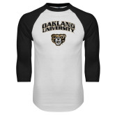 White/Black Raglan Baseball T Shirt-Oakland University with Grizzly Head Distressed