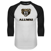 White/Black Raglan Baseball T Shirt-Alumni