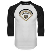 White/Black Raglan Baseball T Shirt-Golden Grizzlies Baseball Diamond