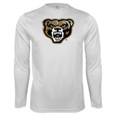 Performance White Longsleeve Shirt-Grizzly Head