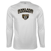 Performance White Longsleeve Shirt-Oakland University with Grizzly Head