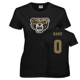 Ladies Black T Shirt-Grizzly Head, Custom Tee w/ Name and #