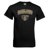Black T Shirt-Oakland University with Grizzly Head