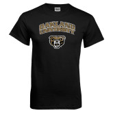 Black T Shirt-Oakland University with Grizzly Head Distressed