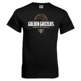 Black T Shirt-Golden Grizzlies Volleyball Half Ball