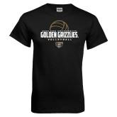 Black T Shirt-Golden Grizzlies Volleyball Half Ball