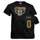 Black T Shirt-Grizzly Head, Custom Tee w/ Name and #