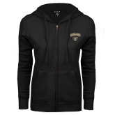 ENZA Ladies Black Fleece Full Zip Hoodie-Oakland University with Grizzly Head