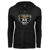 ENZA Ladies Black Fleece Full Zip Hoodie-Grizzly Head