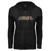 ENZA Ladies Black Fleece Full Zip Hoodie-Oakland University