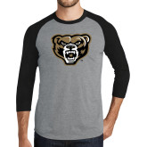 Grey/Black Tri Blend Baseball Raglan-Grizzly Head